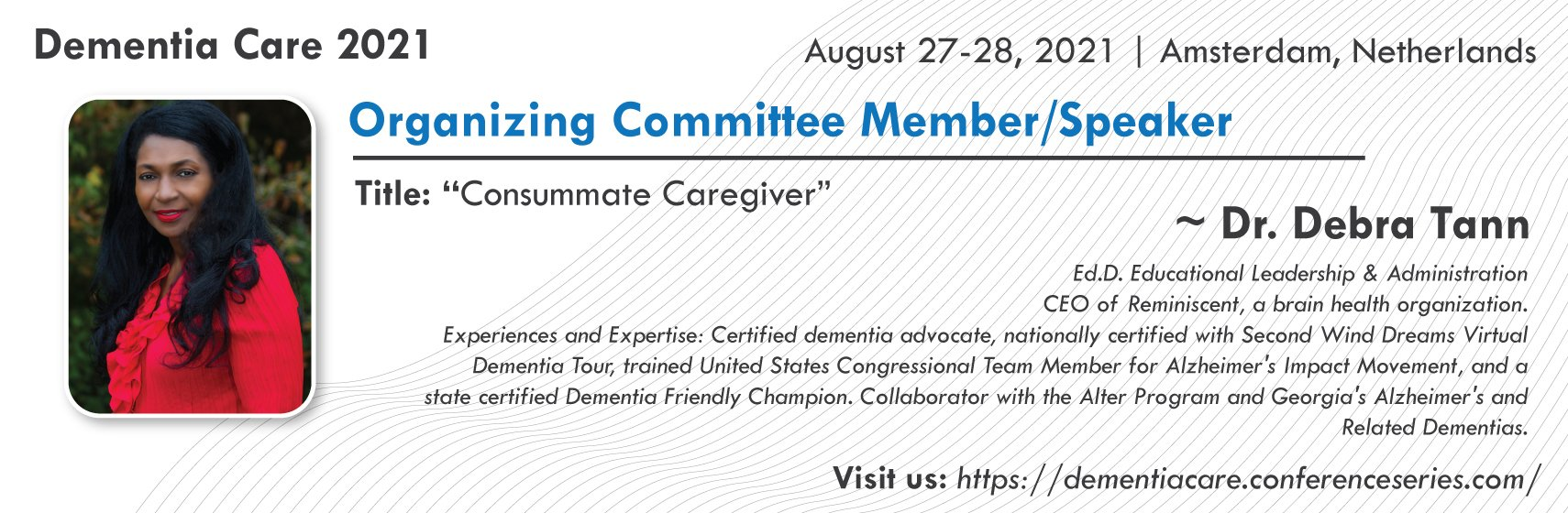 Info on Dr Tann speaking at 12th International Conference on  Dementia and Dementia Care